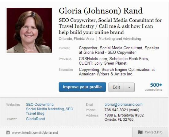 Gloria Rand LinkedIn Profile 2012
