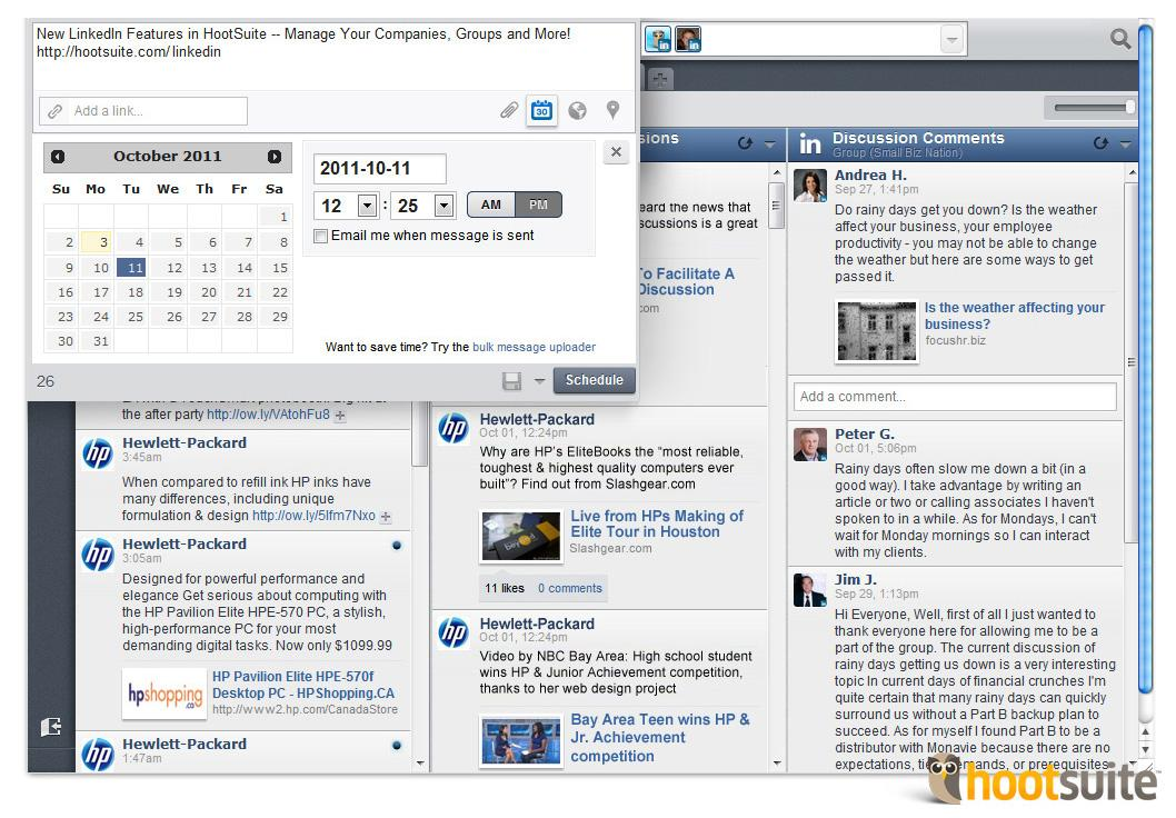 Hootsuite Schedules Posts on LinkedIn Pages