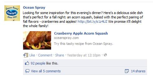Ocean Spray Facebook Page