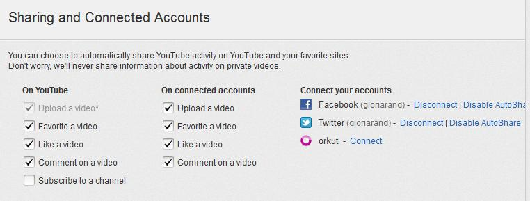 YouTube account settings