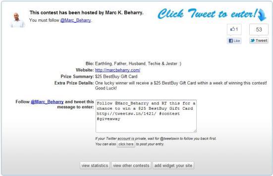 Tweets Win Contest example