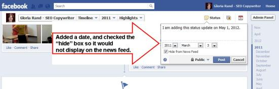 Facebook Dropdown Menu for Updating Status