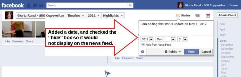 Facebook Dropdown Menu for Updating Status