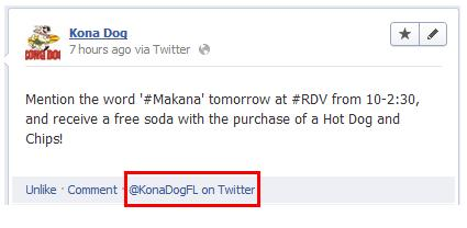 Kona Dog's Twitter User ID on Facebook