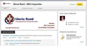 Gloria Rand SEO Copywriter LinkedIn Company Page