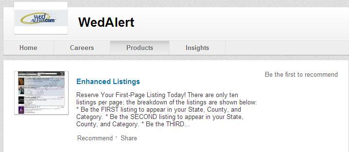 WedAlert LinkedIn Company page